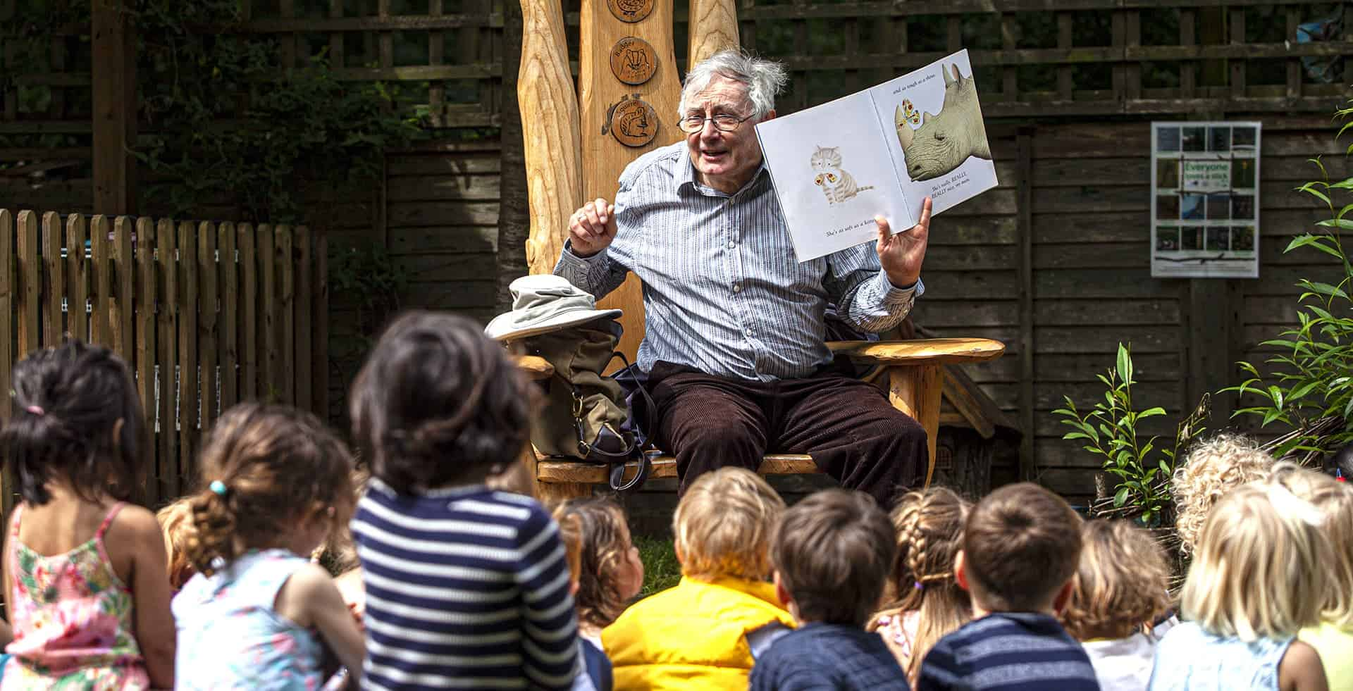 Storytime with the storyteller in the garden at the Nursery