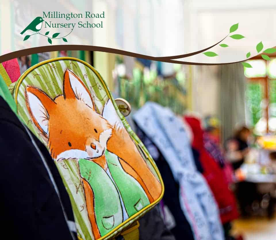 Mr Fox backpack in the nursery's cloakroom