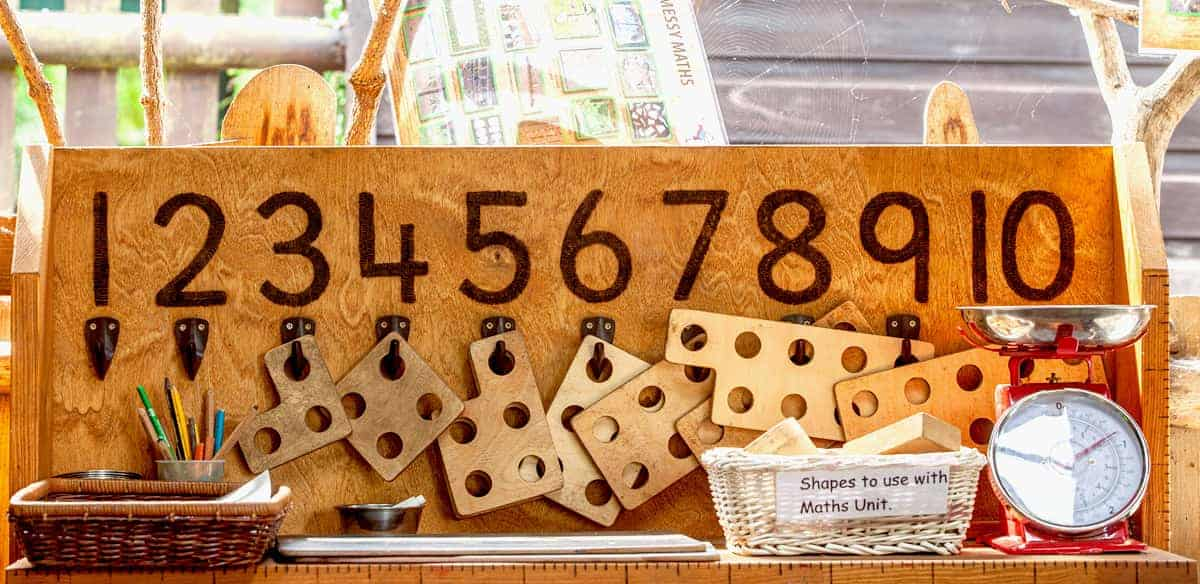 Numbers on the Nursery's maths board