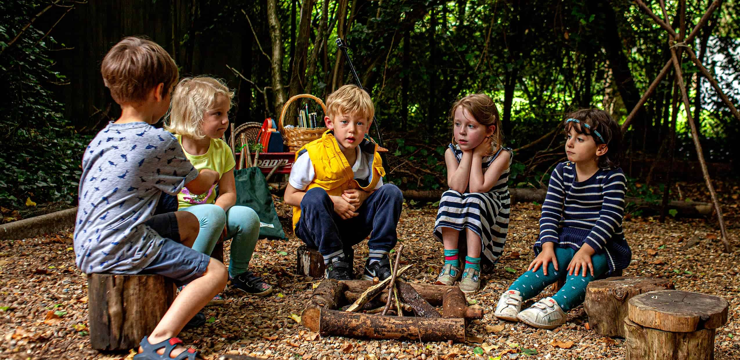Five children sitting round unlit wood pile campfire