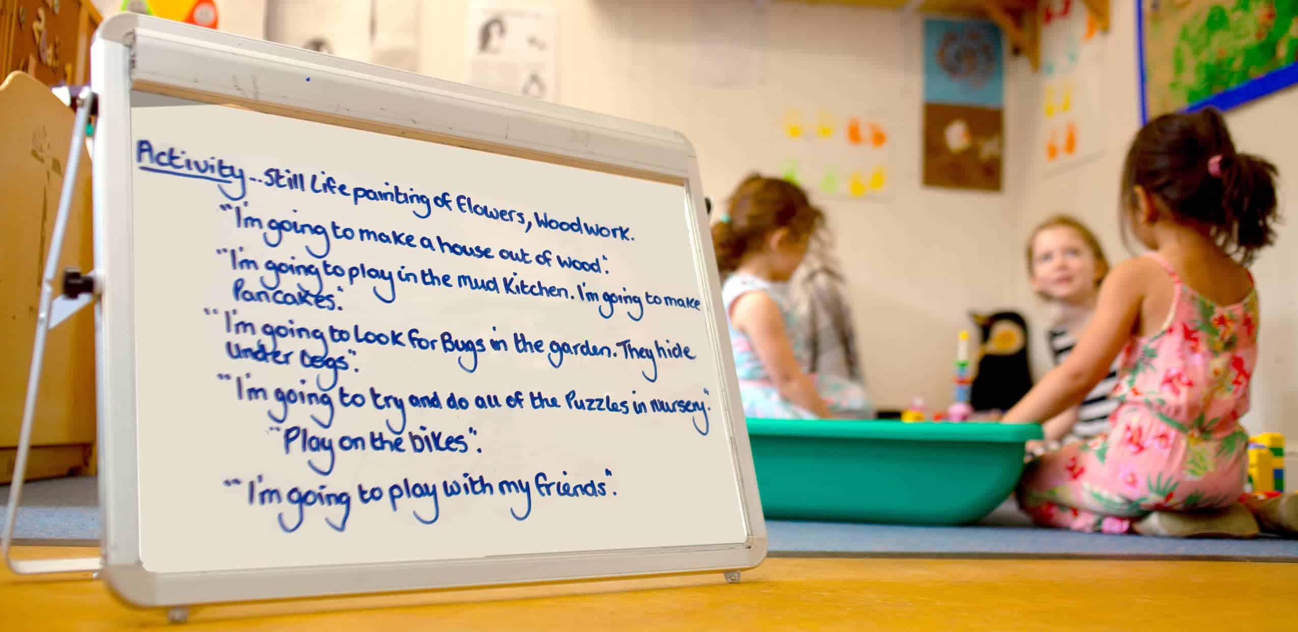 Children's daily statement activity list with three children in the background